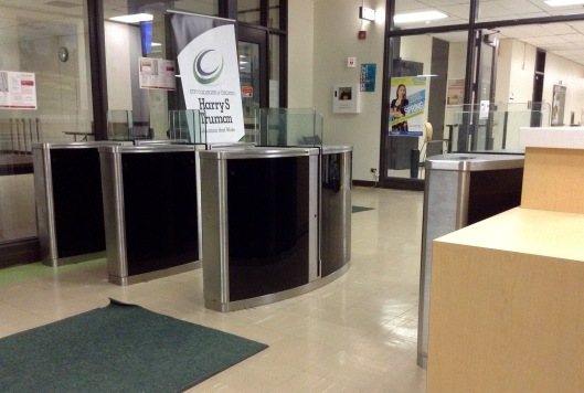 Turnstiles in place at Truman College West Entrance. Photo credit: Gina Marie Robinson